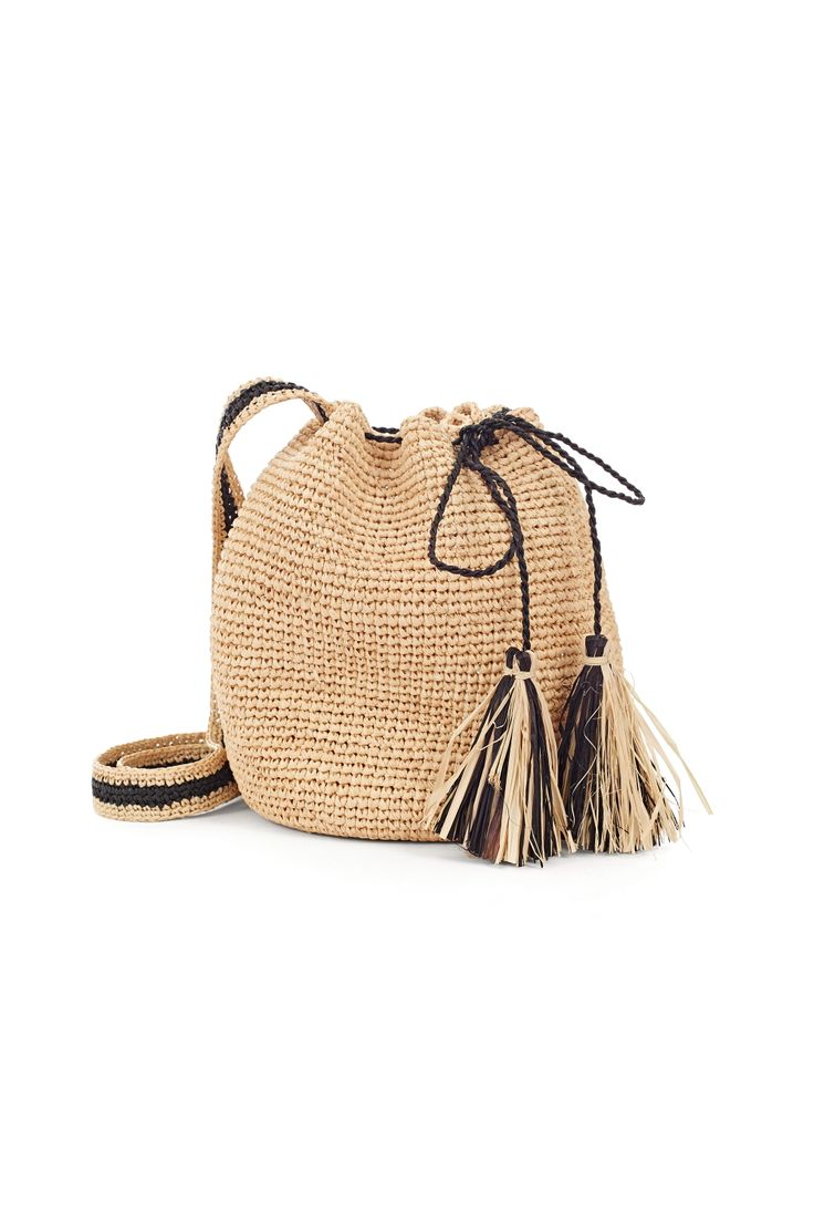 Crochet mini bucket bag with raffia tassels