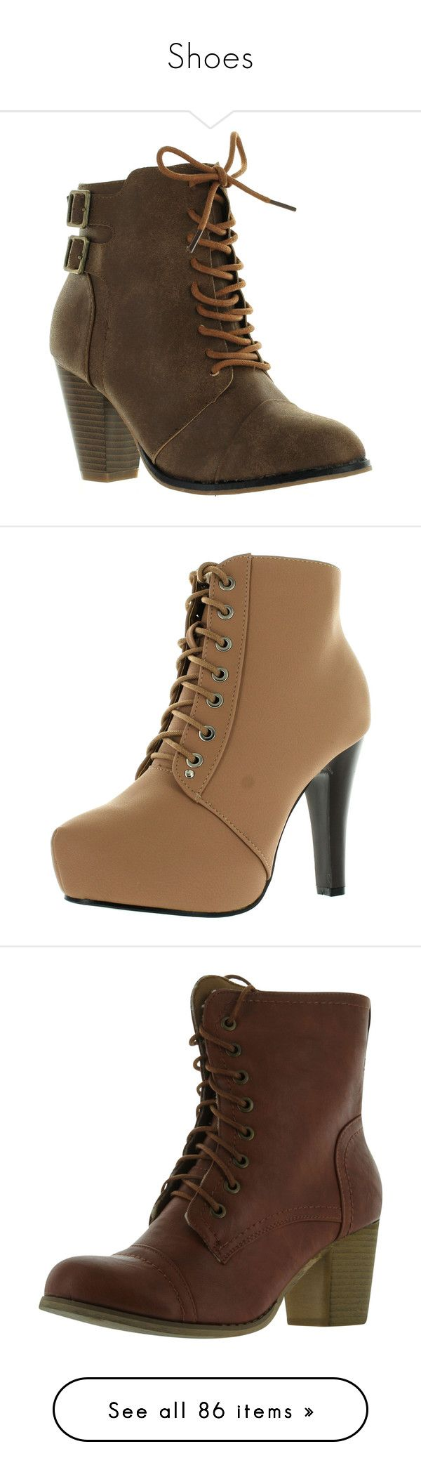 """""""Shoes"""" by aranelr on Polyvore featuring shoes, boots, ankle booties, chunky heel booties, lace-up wedge booties, lace up boots, lace up wedge ankle booties, tan boots, wide ankle boots and wedge ankle booties"""
