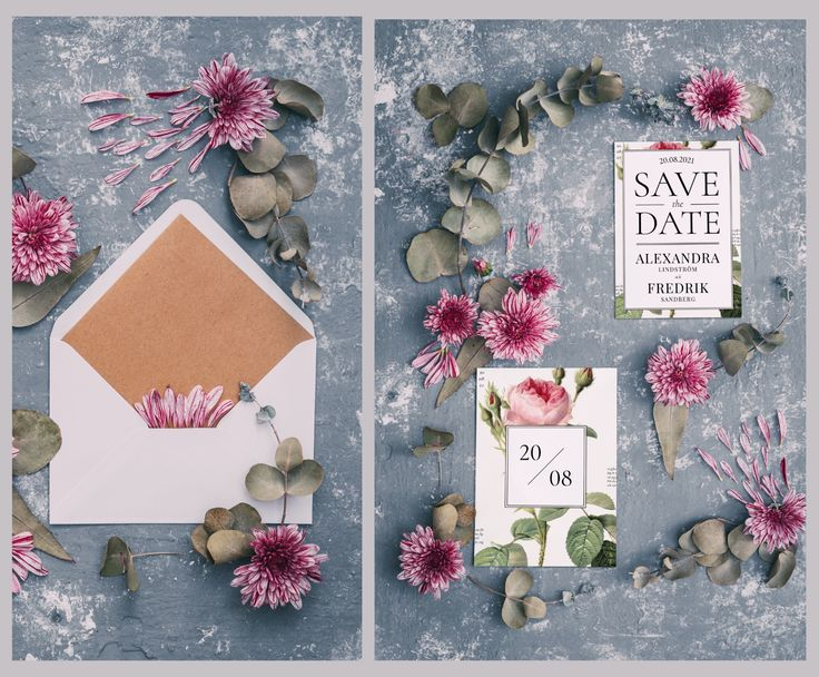 Save The date card with roses and a botanical theme. Botanical rose - invitation, save the date for weddings and events