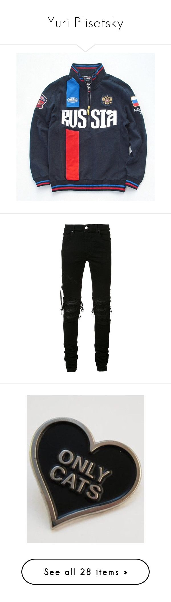 """Yuri Plisetsky"" by uniqueautumn ❤ liked on Polyvore featuring men's fashion, men's clothing, men's jeans, men, jeans, pants, black, mens leather jeans, mens slim jeans and mens destroyed jeans"