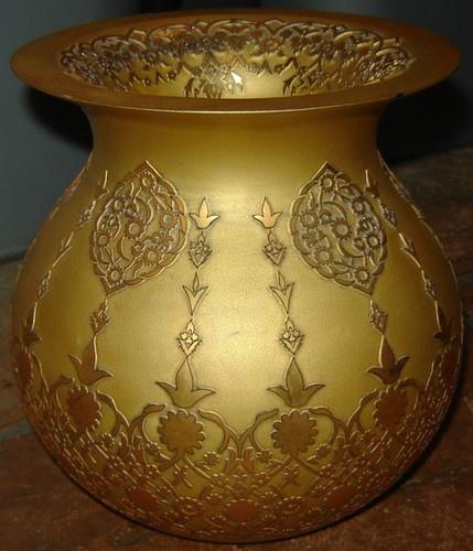 Limited Edition Pasabahce Turkish Art Glass Vase 135 2000 Raised 24KT Gold | eBay