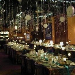 Keep this in mind for your next New Year's Eve party!  Clocks and streamers hanging from ceiling!