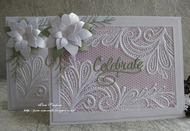 "Good morning friends and visitors...welcome to new followers, thank you for joining my blog. Sharing two cards I made yesterday using my new Crafters Companion ""Ornate Lace"" embossing folder.. One in"
