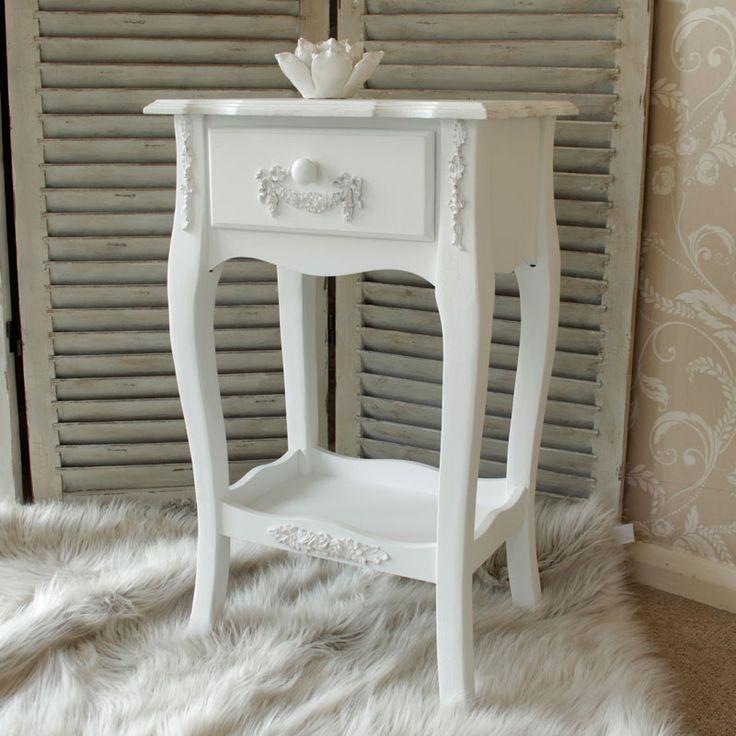 Pays Blanc Range - Antique White Bedside Table