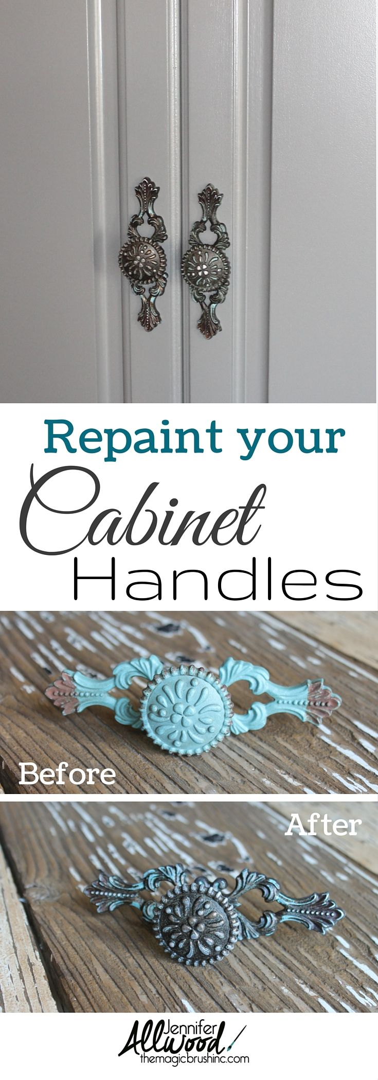 Learn how to repaint your cabinet and pantry handles! Turn any wrong color into the right one! More painting tips from theMagicBrushinc.com
