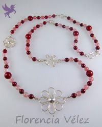 Collar en plata 950, cuarzo rosa y piedra fósil morada