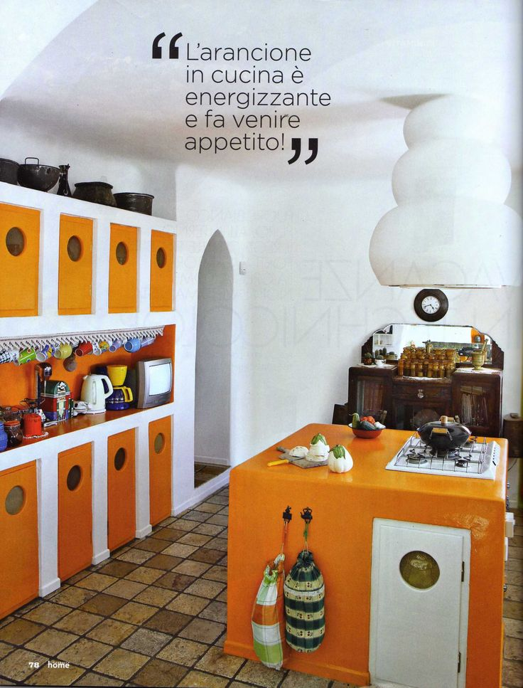 kitchen orange santorini style