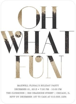 OH WHAT FUN! We love the font on this fun holiday party invite!
