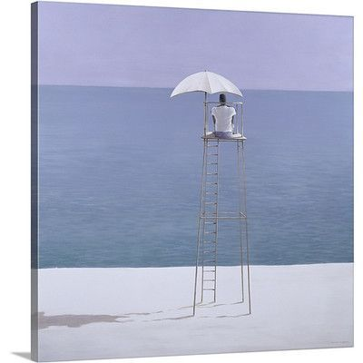 """Canvas On Demand Beach Guard, 2004 by Lincoln Seligman Graphic Art on Canvas Size: 16"""" H x 16"""" W x 1.25"""" D"""