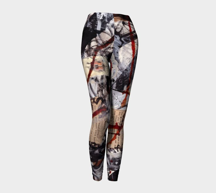 leggings, mixed media, original art, wearable art, gifts for artists, yoga, pilates exercise, patterned leggings, printed, breathable fabric by paperwerks on Etsy #etsy