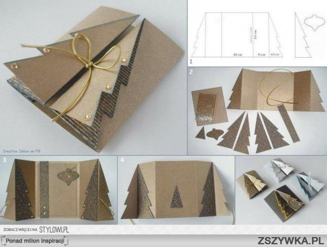 Pop-up Natural Christmas Tree Card::by Kartka Z Choinką