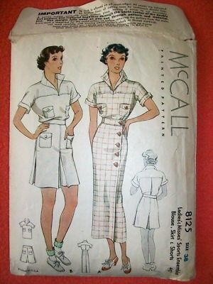 McCall 8125 | ca. 1935 Ladies' & Misses' Ensemble Blouse, Skirt and Shorts