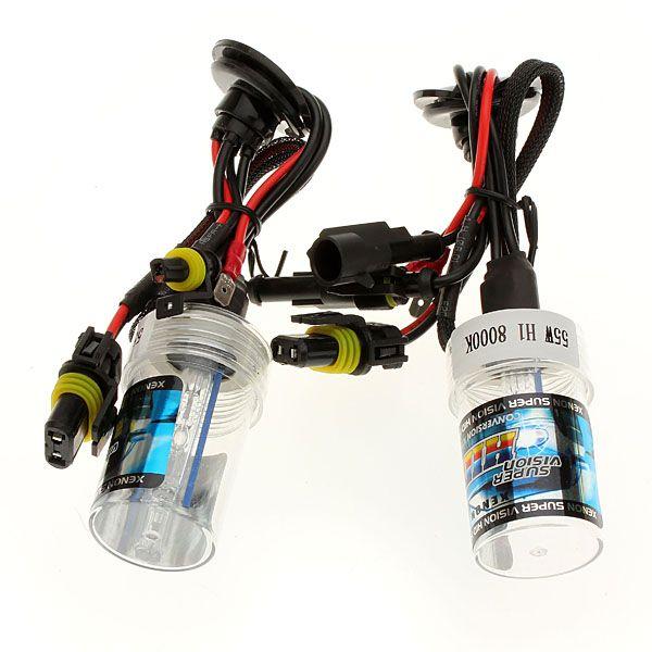 2x 55w coche h1 escondió sustitución de la bombilla de la lámpara de luz de los faros de xenón nueva