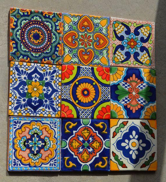 18 Azulejos Talavera Pintadas a mano 4 X 4