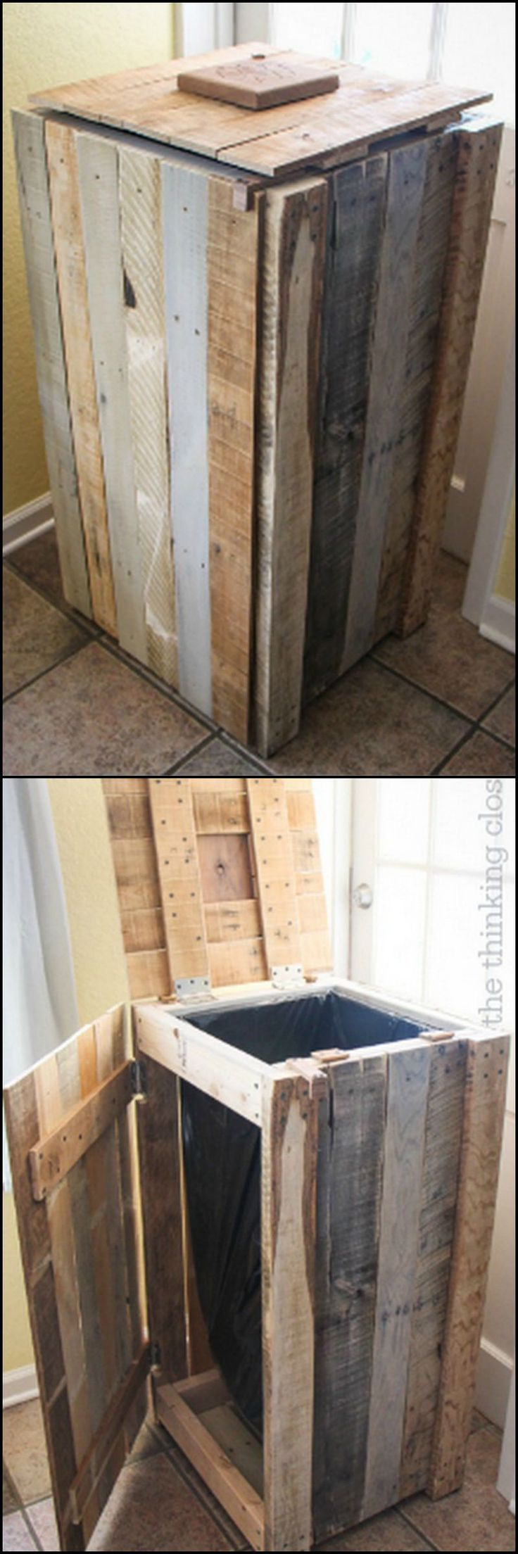 How To Turn Pallets Into A Recycle Bin http://theownerbuildernetwork.co/ua9d Mark and Lauren of 'The Thinking Closet' have the perfect solution to your recycle bin problem. Their idea is very clever! Could you use one of these in your home?