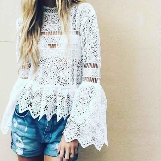 Lacey bohemian style top