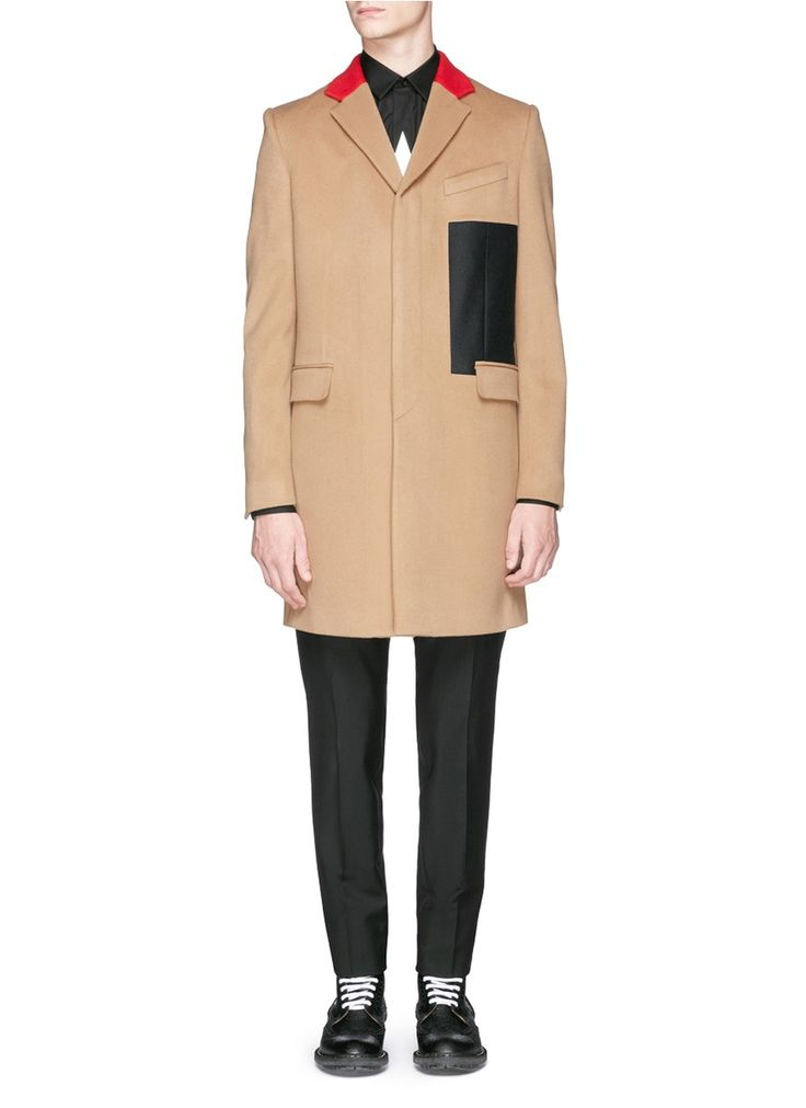 Givenchy Contrast Collar Wool-cashmere Coat in Beige for Men (Neutral) $2135