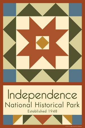 Independence National Historic Park Quilt Block designed by Susan Davis. Susan is the owner of Olde America Antiques and American Quilt Blocks She has created unique quilt block designs to celebrate the National Park Service Centennial in 2016. These are the first quilt blocks designed specifically for America's national parks and are new to the quilting hobby.