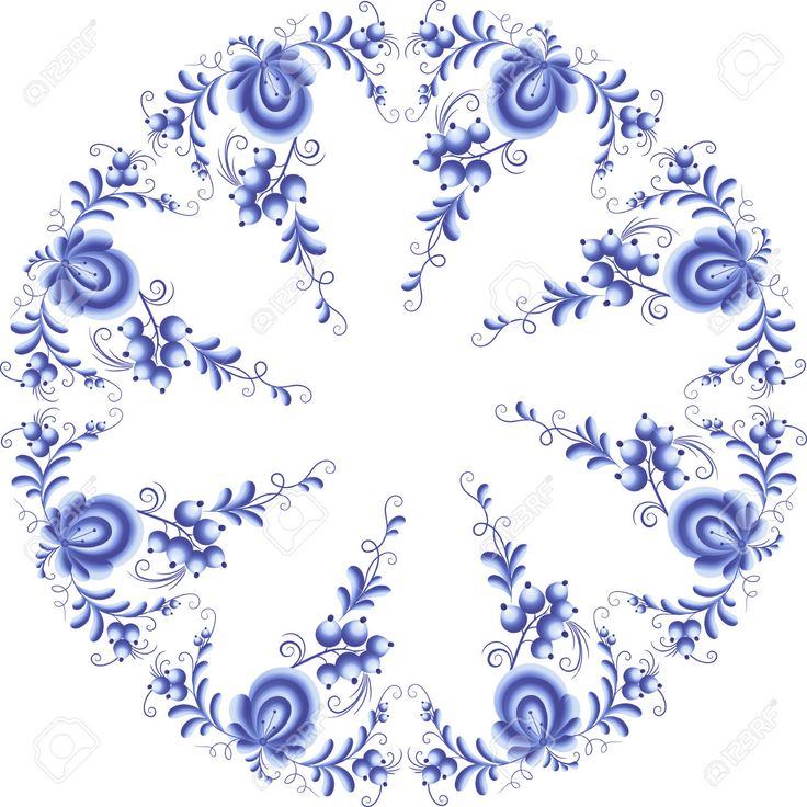 Blue Floral Round Frame In Gzhel Style Royalty Free Cliparts, Vectors, And Stock Illustration. Pic 33886369.