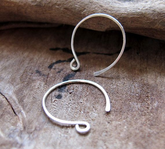 Sterling Silver Hoop Ear Wires Hand Forged 3 4 Inch Round Hammered Earwires Earrings Handmade Hoops