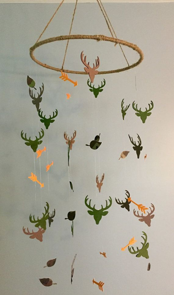READY TO SHIP Camo Deer Mobile baby boy by GoldenArrowBoutique