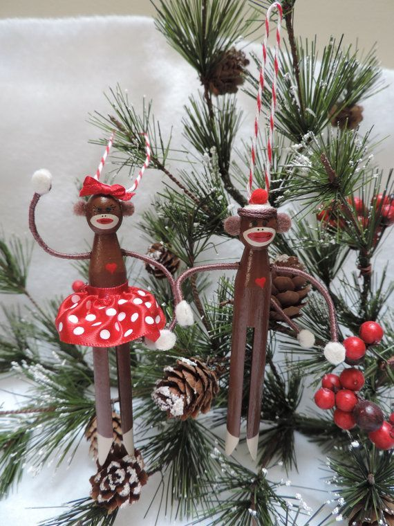 Girl Sock Monkey Clothespin Ornament by Underpinnings on Etsy