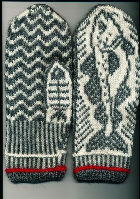Homemade knitted mittens with Trout fish on. Sweden.                                                                                                                                                                                 More