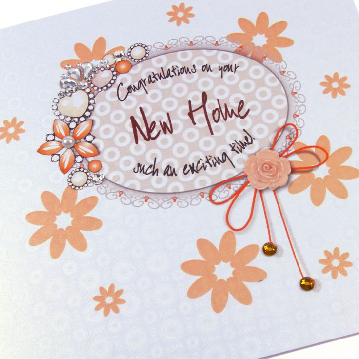 Handmade Luxury New Home Card Sparkling Topaz Crystals Regal Royal Heirloom Flowers Ice Gold Holographic Embossed Board - 'Congratulations on your New Home'