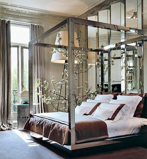 Elie Saab's apartment in Paris (note the mirrored screens and canopy bed, as well as the tall windows)