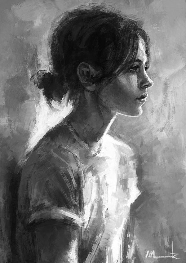 Elina - Monochromatic digital painting. A woman is painted in black and white colors, looking far away with disheveled hair and humble clothing.