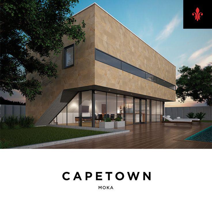 El porcelánico Capetown se inspira en la piedra arenisca, la cual se forma por diferentes granos de minerales y rocas. Esfumada y degradada en tonalidades terrales.