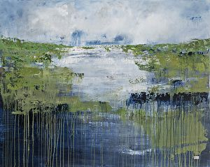 SOLD Prussian Blue by Patricia Gray Acrylic on canvas over panel with resin ~ 48 x 60 in.