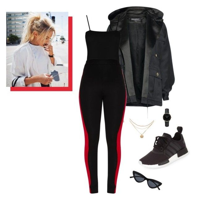 """""""cold days"""" by holaallyy on Polyvore featuring Balmain, Boohoo, adidas and ROSEFIELD"""