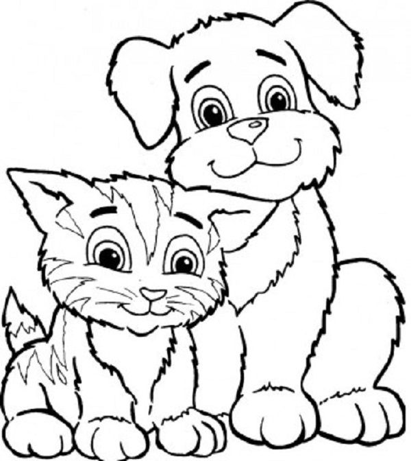 Puppy And Kitty Coloring Pages