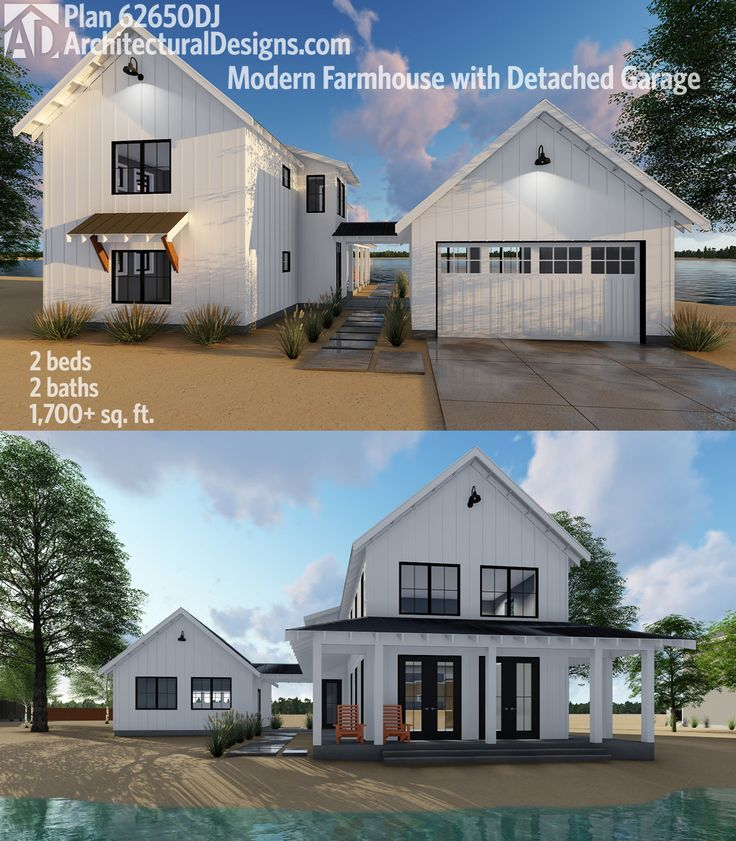 plan 62650dj modern farmhouse plan with 2 beds and semi detached garage farmhouse plans modern farmhouse and square feet
