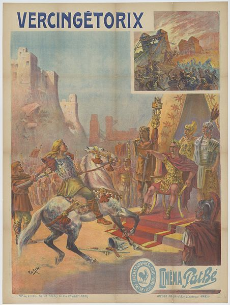 """Poster for the 1909 French film, Vercingetorix. Vercingetorix translates roughly into """"king of great warriors"""", a fitting title for a man so ambitious as to attempt to unite all of Gaul. His father was actually killed by his tribe for aspiring the same thing, but this did not dissuade the young Vercingetorix from trying the same thing after Caesar had recently finished his Gallic campaign using military might and politics to subdue the Gauls."""