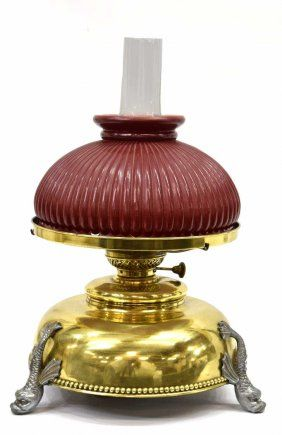 PL & B CO. BRASS TABLE LAMP