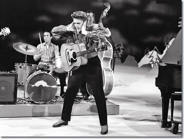 Elvis Presley | First appearance on The Ed Sullivan Show on September 9, 1956 ~ The press was quick to note that the cameras switched to close-up shots whenever he started dancing, in effect censoring him, but the TV audience got to see plenty, and besides, the girls screamed when he grunted, moved his tongue, crossed his eyes, or even stood perfectly still. With Elvis, censorship began to seem irrelevant.  (By Christine Gibson, former editor at American Heritage magazine)