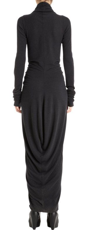 Rick Owens Cowl Neck Long Sleeve Dress at Barneys.com