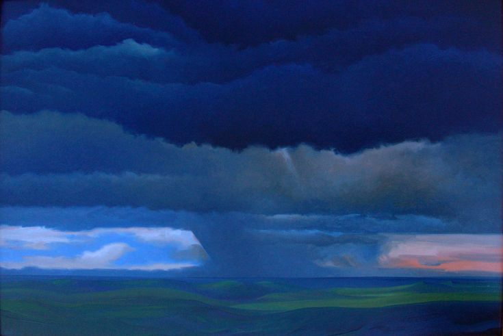 """Annunciation"" by Jerry Moon Fine Art-Oil-Landscape-Painting-Kansas City, Missouri-Midwest-Sky-Clouds-Storm-Green-Blue-Dramatic-Rain"