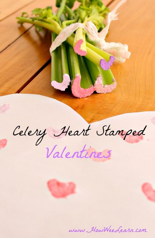 Such an easy preschool valentine craft - using celery stalks as hearts! Great process art for kids