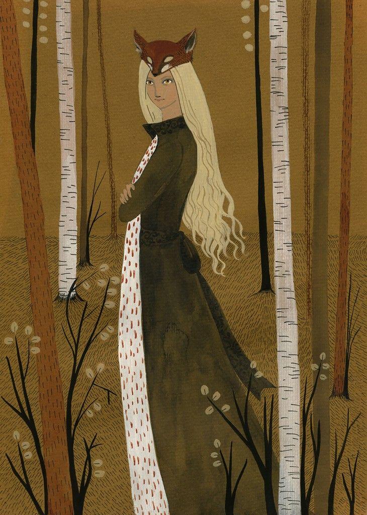 по ту сторону реки, героиня, Ярилина Рукопись, witch, magic, witchcraft, fairy, forest, village, woods, fairy-tale, russian, pagan, slavic, illustration, girl, acrilic, иллюстрация, Лиса, fox