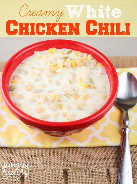 Creamy White Chicken Chili from yummyhealthyeasy.com