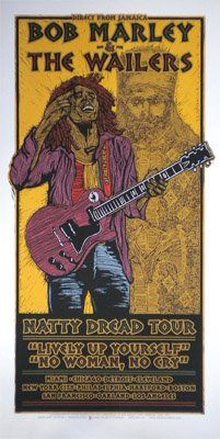 Bob Marley & The Wailers, Natty Dread Tour 1975 Concert Poster