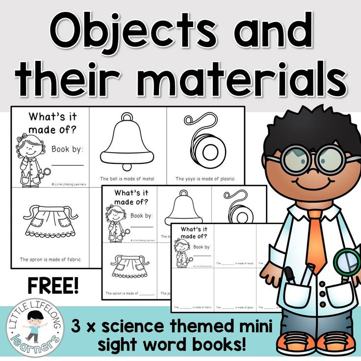 Review the materials that familar objects are made from with the Science Free Printable | Freebies for Kindergarten, Prep, Foundation Chermistry Strand | Science Unit | Australian Curriculum | Printables for the classroom | Chemistry strand | What are objects made from? | Teaching black line masters | Mini sight word books to build fluency in the early years |