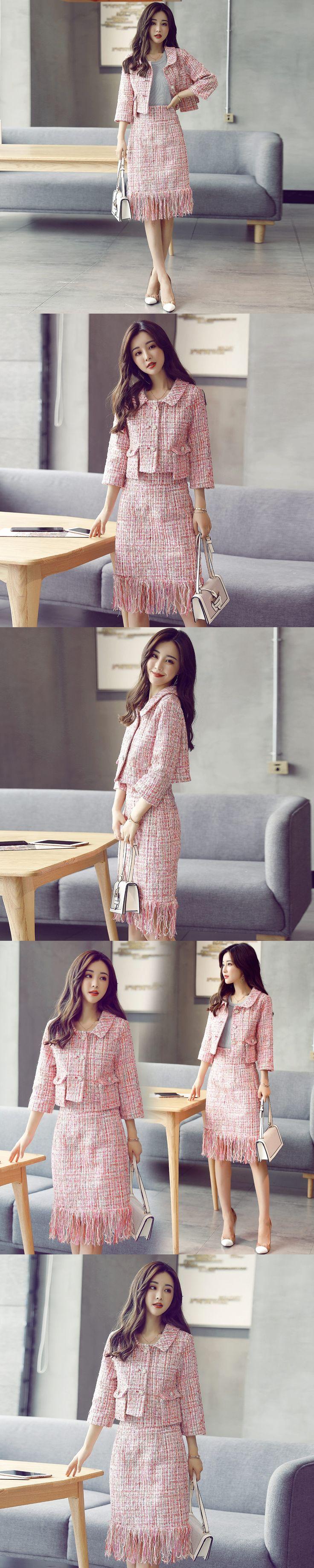 Wool suit female 2017 new autumn and winter small fragrant pink lattice turn-down collar short jackets coat + tassel skirt
