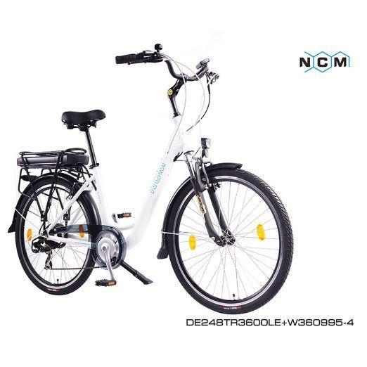 NCM MUNICH S,26 Zoll Elektrofahrrad Damen Tiefeinsteiger Fahrrad,ALU Pedelec E-Bike,36V 250W Motor, Lithium-Ionen-NCM Akku mit 9Ah,weiß,schwarz