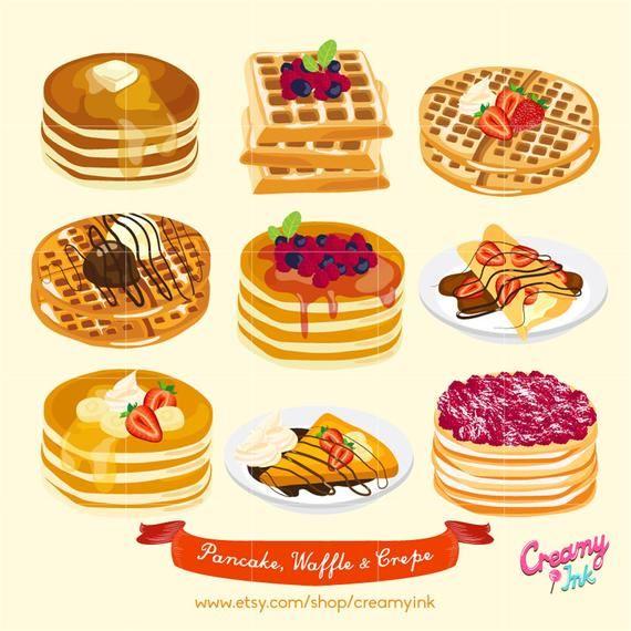 Waffle Pancake Digital Vector Clip Art Crepes Cakes Digital Clipart Design Illustration Food Sweets Baking Dessert Fud Art Illyustracii Edy Risunki Edy