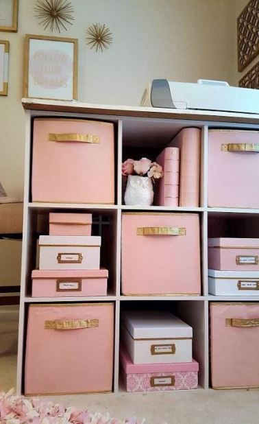 Storage bins are an easy way to decorate your dorm room on a budget!