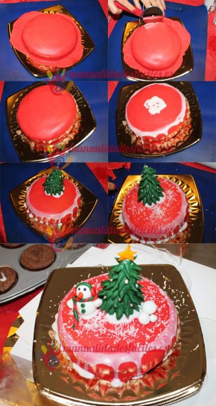 17 best images about pasteles navidad fondant on pinterest for Como decorar un bizcocho